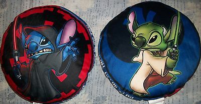 Star Wars Stitch as Yoda/Emperor Palpat Round Double Sided Pillow