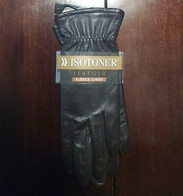Isotoner Leather Gloves Women Size 7 Fleece Lined Brown NWT