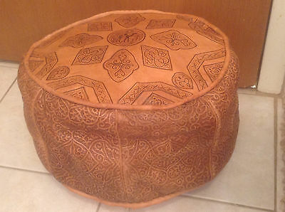 Vintage Mid Century Modern / Hollywood Regency Moroccan Leather Pouf / Ottoman