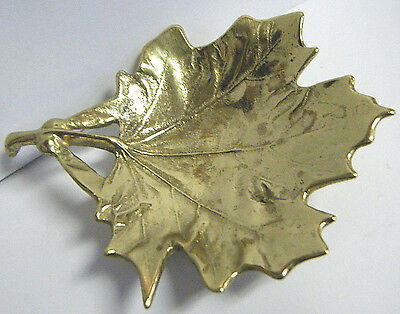 "Vtg 1950 Vmc Virginia Metalcrafters 5"" Sugar Maple Solid Brass Leaf Trinket Dish"