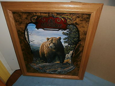OLD MILWAUKEE BEER MIRROR SIGN 8th OF 8 WILDLIFE SERIES  THE BEAR by DOUGHTY