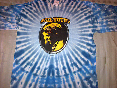 Neil Young T-SHIRT 2000 Music In Head Tour OFFICIAL NEW Old Stock BLUE Tye-Dye