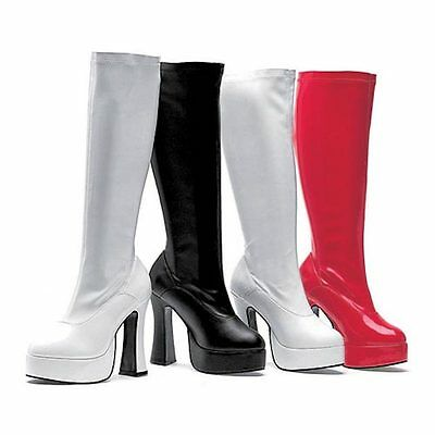 1960s ChaCha Ladies Costume 60s Boots 1970s Disco Go Go Boots Red Black Or White