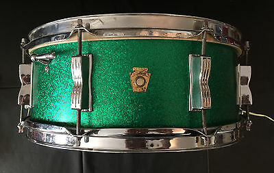 LUDWIG 1960 Vintage Keystone GREEN Sparkle Jazz Festival Snare Caisse Claire,TBE