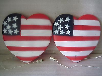 2 HTF Union Products Fourth Of July Heart Shape American Flag Blow Mold Lighted