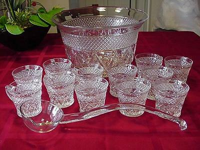 Imperial Glass Cape Cod Punch Bowl 12 Cups & Glass Ladle