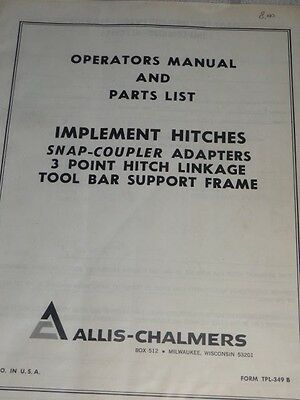 Allis-Chalmers Implement Hitches Operator's Manual