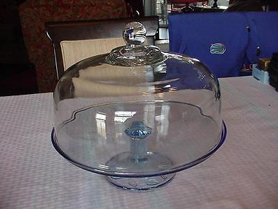 Indiana Glass Blue Aspen Footed Cake Plate With Dome Lid