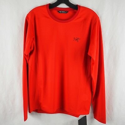 Arc'teryx Men's Small Magma Red Iridine Crew Long Sleeve Base Layer Shirt NWT