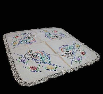 Exquisite vintage art deco embroidered swan & flowers lace trim tablecloth