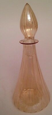 """Perfume Colored Thin Glass Bottle Vintage Dropper Pink 5 1/2"""""""