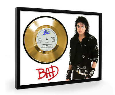 Michael Jackson Bad Framed Gold Disc Display Vinyl (C1)
