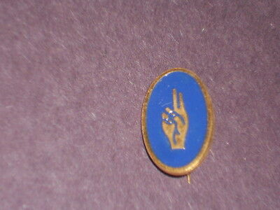 Vintage Gold Design Blue & Gold Girl Scouts BROWNIE 2 Finger Salute Brooch Pin