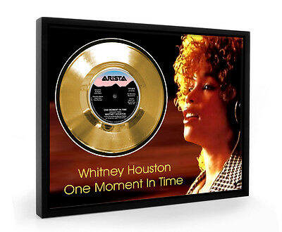 Whitney Houston One Moment In Time Framed Gold Disc Display Vinyl (C1)