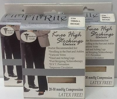 1 LOT of 3 NIP 239 Fit Rite UniSex Compression Knee High Stocking, Small Beige