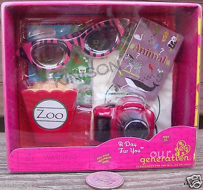 """Our Generation 18"""" Doll A Day Fur You Camera Peanut Bag Zoo ~ SEALED"""
