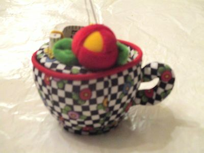 2001 Mary Engelbreit Tea Cup Shaped Pin Cushion, Lid Comes Off For Storage