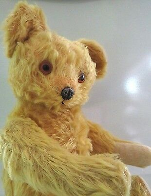 "Antique 18"" Knickerbocker Jointed Yellow Mohair Teddy Bear, Metal Nose, Growler"