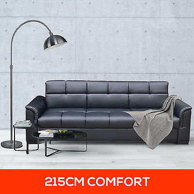 NEW Faux Leather Upholstered 3 Seater Sofa Bed Futon Couch with Storage Black