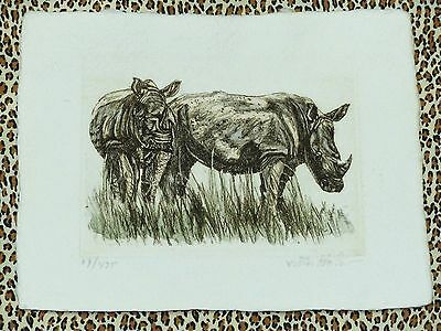 2 Rhinoceros Rhino Signed and Numbered Etching Cotton Woven Paper 17/425 leopard