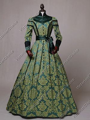 Victorian Civil War Regal Queen Brocade Dress Gown Reenactment Theater Wear C021