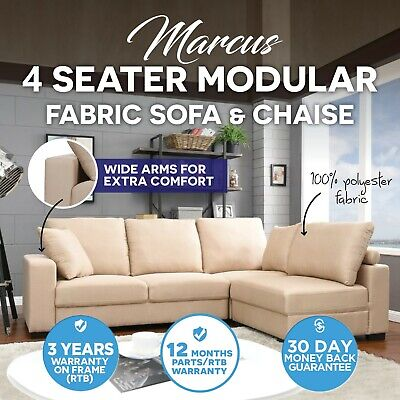 Fabric 4 Seater Sofa & Chaise Corner Setting Couch Lounge Suite Furniture Taupe
