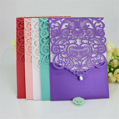 10 Wedding Invitation Cards with Envelopes Seals, Custom Personalized Printing