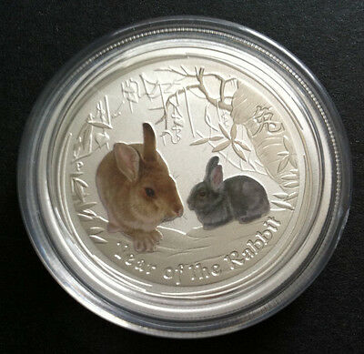 2011 50c YEAR OF THE RABBIT 1/2OZ COLOURED SILVER COIN ONLY IN CAPSULE