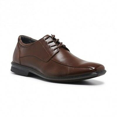 Mens Hush Puppies Carey Brown Leather Extra Wide Lace Up Work Formal Men's Shoes