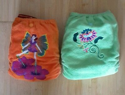 2 Earfts embroidered nappies with bamboo snap boosters