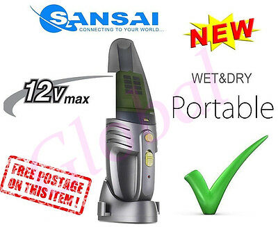 12V Portable Cordless Bagless Handheld Wet/Dry VAC Vacuum Cleaner Rechargeable G