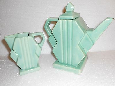Fulper-Stangl Deco Delight #1081 Art Deco Teapot and Creamer in Silver Green