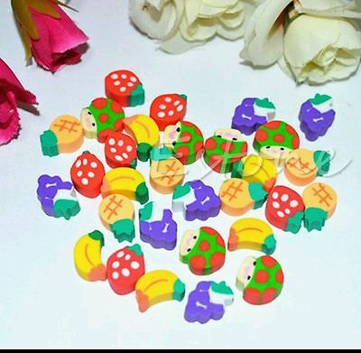 25x  MINI FRUIT RUBBER ERASERS CUTE SMALL MINI SCHOOL SET FRUIT FOOD
