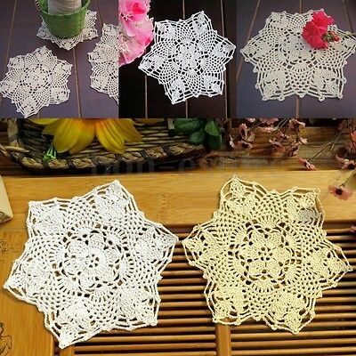 4Pcs Vintage Handmade Crocheted Lace Doilies Flower Coasters Placemat 22cm/8.6''