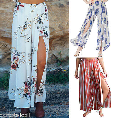 Womens Ladies Palazzo Floral Flared Wide Leg Pants High Slit Baggy Long Trousers
