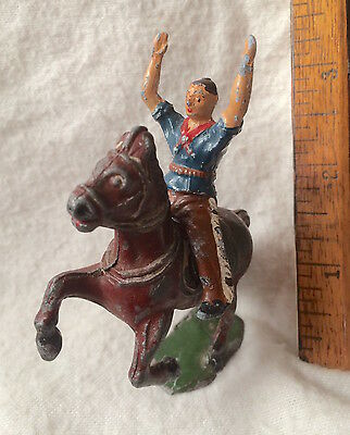 1950S Vintage Timpo Toys Rodeo Cowboy Lead Horse Riding Figure All Original Vgc!
