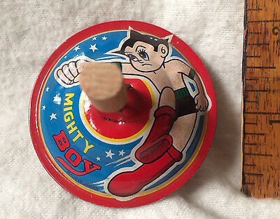 1960S Tin Toy Astro Boy Spinning Top Knock-Off 'mighty Boy' Japan Tetsuwan Atom!
