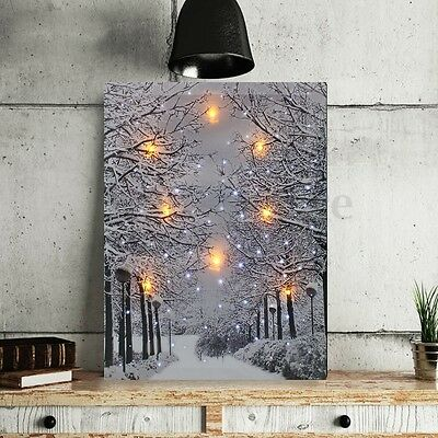 LED Tree Snow Lighted Canvas Painting Print Home Wall Art Picture Decor Framed