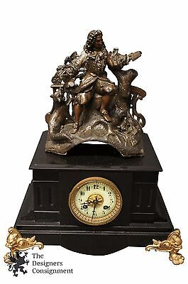 Antique Samuel Marti Marble Mantel Clock Madaille De Bronze Figure Colonial 16""