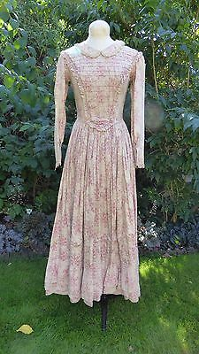 1840's Victorian Style Pink Cream Cotton Lawn Dress Period Theatre Costume Sz. 8