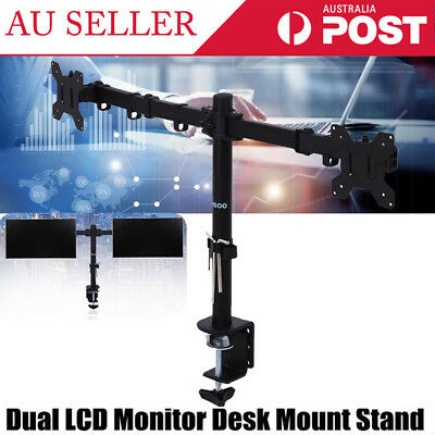 13-27'' Adjustable Dual Screen LCD LED Monitor Desk Mount Bracket Stand Holder