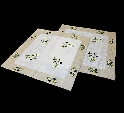 Vintage pair of olive embroidered 50cm square mats in lovely condition