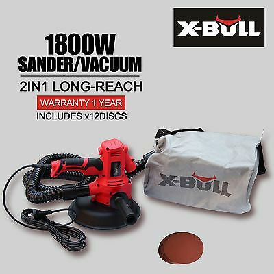 X-BULL New Drywall Sander 1800W with Automatic Vacuum System - Gyprock Plaster