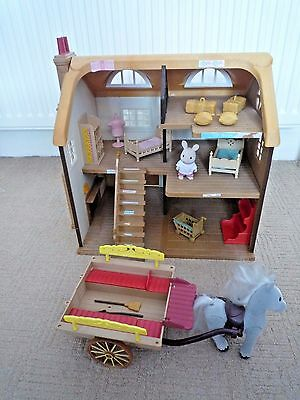 Sylvanian Families Highfield Farm House With Horse & Cart 1 Figure & Accessories