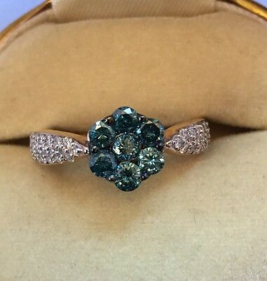 Beautiful Blue Flower And Clear Diamond 9ct Gold Ring