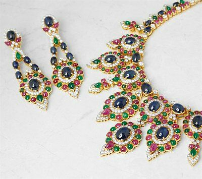 18K Yellow Gold Diamond, Ruby, Emerald & Sapphire Necklace & Earrings - Com376