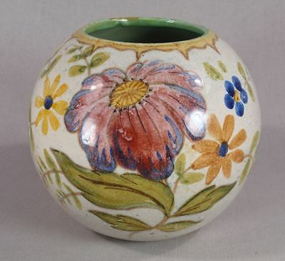 """Gouda Pottery of Holland Round Floral 4 1/4"""" Vase #2356 Beatino Exc Condition"""