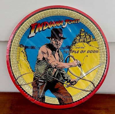 Vintage INDIANA JONES Temple of Doom Large Paper Style Plates 8 Birthday Party