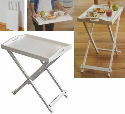 Foldable Wooden White Butler Tray Breakfast Laptop Side Table