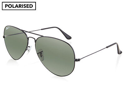 Ray-Ban RB3025 Aviator Polarised Sunglasses - Black/Green